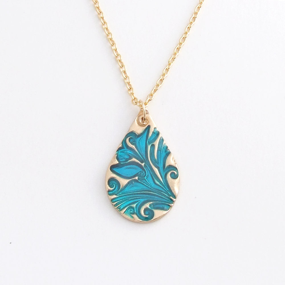 handmade bronze and blue cold enamel teardrop pendant necklace 3