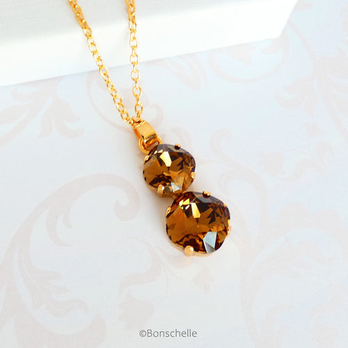 Bronze_Topaz_cushion_cut_crystal_necklace_1.jpg  1000 × 1000px  Bronze toned couble cushion cut crystal necklace for women 2