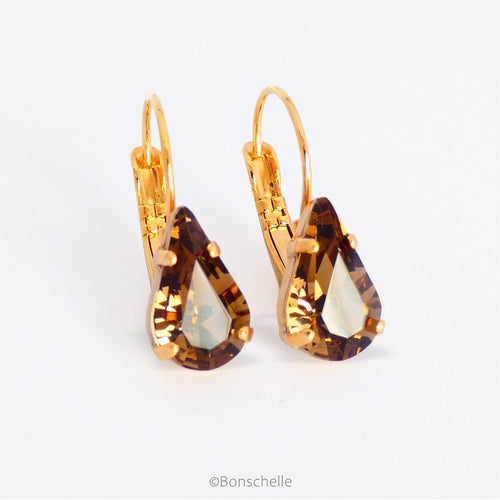 Bronze toned pear shaped crystal and gold plated lever back earrings