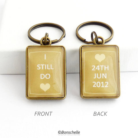 bronze wedding anniversary I still do personalised date keyring gift 4