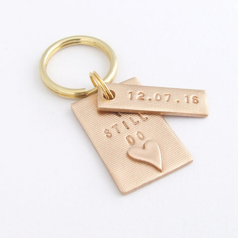 Personalised Handstamped Bronze Anniversary Keyring, I Still Do