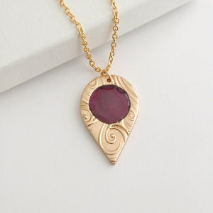 Handmade polished bronze and enamel pendant necklace for women with gold plated chain