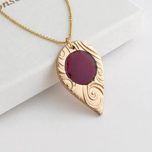 Handmade polished bronze and enamel pendant necklace for women with 14K gold filled chain