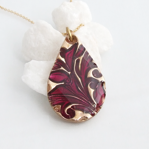 Bonschelle bronze and enamel teardrop pendant necklace