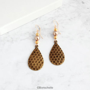 Antique Bronze Hammered Teardrop and Pearl Earrings with 14K Gold Filled Earwires