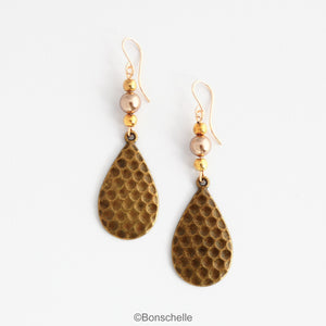 Antique bronze toned hammered metal teardrop earrings with bronze swarovski pearls, gold toned beads adn 14K gold filled earwires