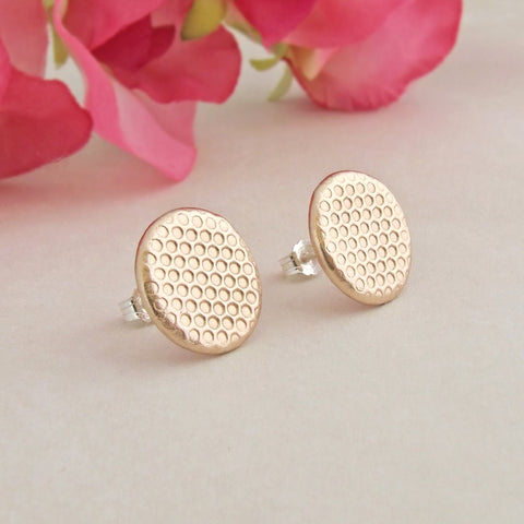 bronze honeycomb patterned sterling silver stud earrings 1