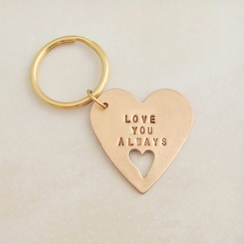 handmade polished bronze heart shaped sentiment keychain with words Love You Always 1
