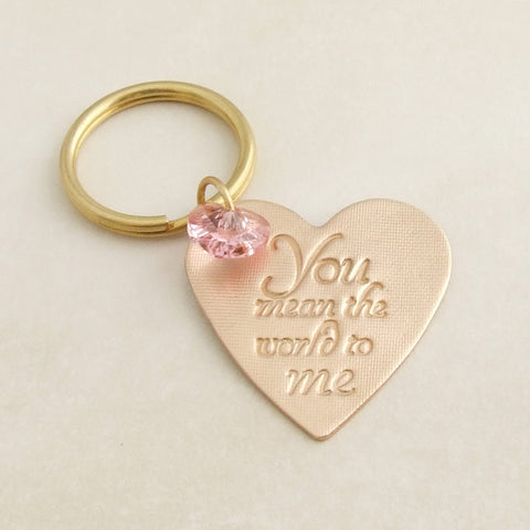 handmade bronze and swarovski love heart sentiment keyring 1