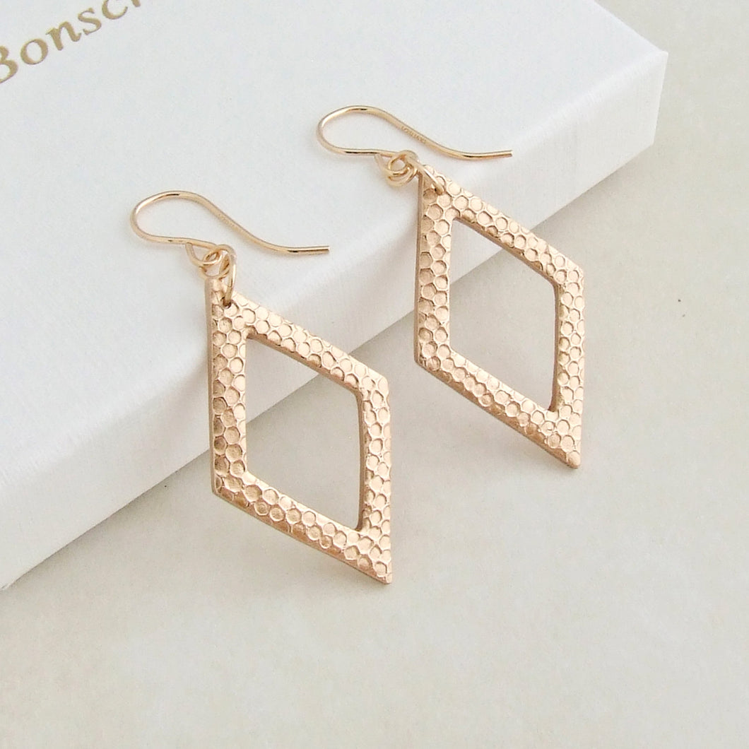 Modern handmade bronze geometric earrings with 14K gold filled earwires 1