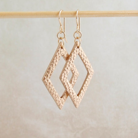 Modern handmade bronze geometric earrings with 14K gold filled earwires 2
