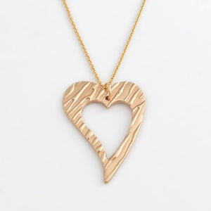 Handmade polished bronze open love heart pendant necklace 3