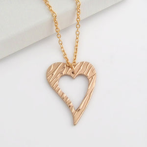 Handmade polished bronze open love heart pendant necklace 2