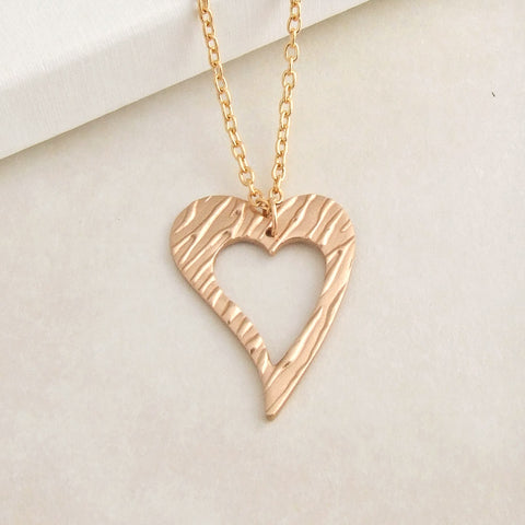 Handmade polished bronze open love heart pendant necklace 1