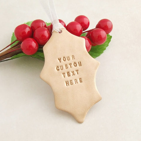 personalised handstamped bronze handmade holly leaf christmas decoration 1