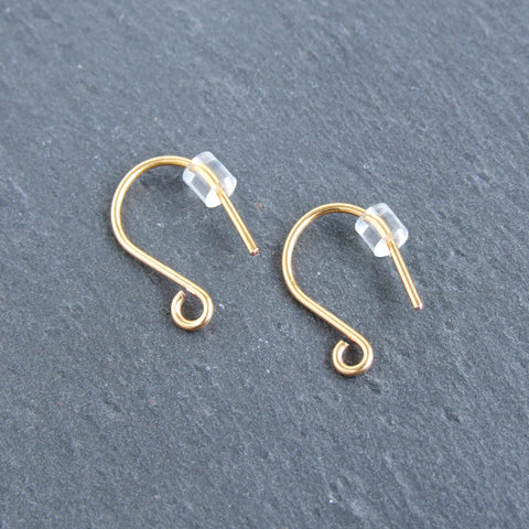 Handmade 24ct gold plated shepherd crook earwire findings from the UK 3