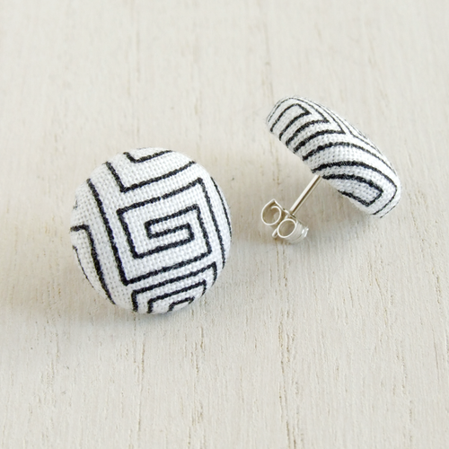 Geometric print textile and sterling silver stud earrings for women