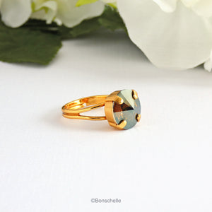 24K gold plated solitaire ring for women with a deep bronze Swarovksi crystal stone.