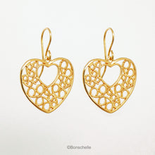 Load image into Gallery viewer, 18K gold plated filigree heart earrings with 14K gold filled earwires shown hanging