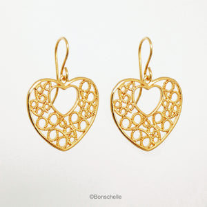 18K gold plated filigree heart earrings with 14K gold filled earwires shown hanging