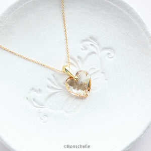 handmade necklace with pale gold colour crystal cut Swarovski heart pendant and 14K gold filled chain