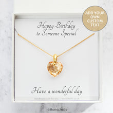 Load image into Gallery viewer, handmade necklace with pale gold colour crystal cut Swarovski heart pendant and 14K gold filled chain in a jewellery box with a personalised gift message