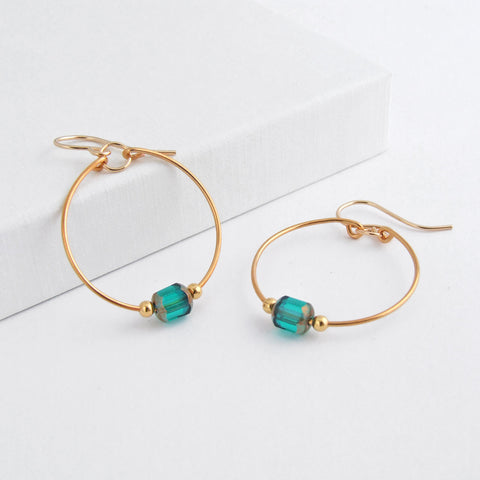 handmade 24K gold plated hoop earrings with gold filled eawires and green glass beads 3