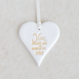white clay heart sentiment ornament