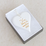 white clay heart sentiment ornament in a gift box - 2