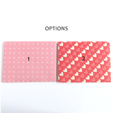 heart patterned gift message envelope options