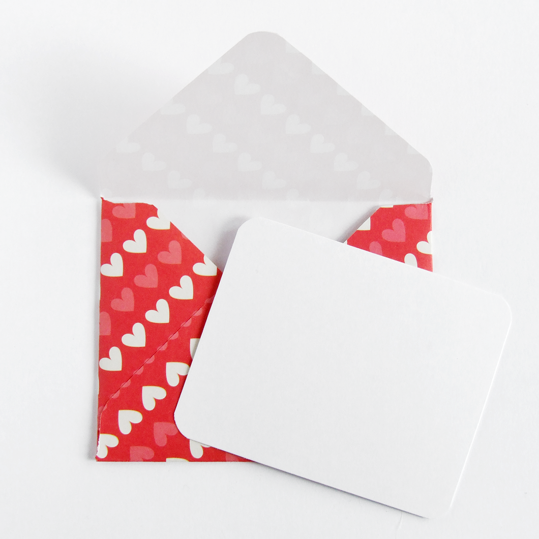 Handmade heart patterned gift message envelope and notecard