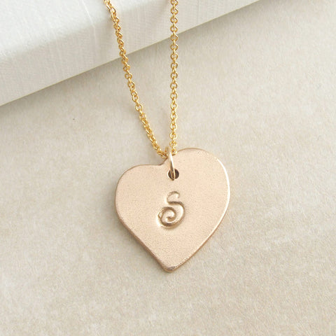 Polished gold bronze heart shaped intial pendant necklace for women 3