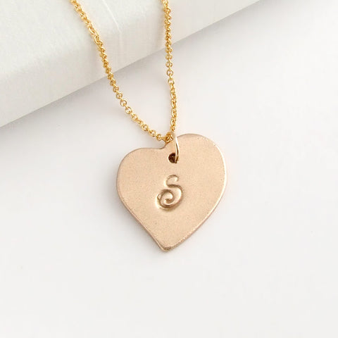 Gold Bronze Personalised Heart Pendant Necklace