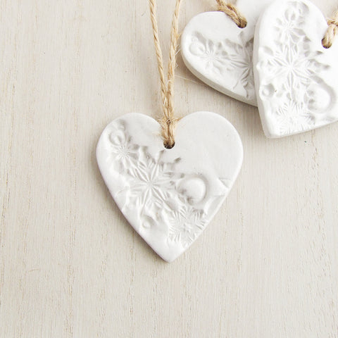 White Clay Heart Christmas Ornaments, Set of 3