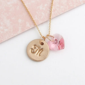 handmade bronze initial disc pendant with Swarovski pink crystal heart 4