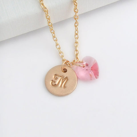 handmade bronze initial disc pendant with Swarovski pink crystal heart 1