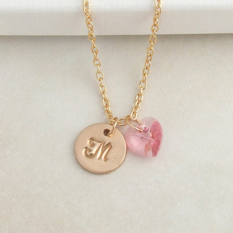 handmade bronze initial disc pendant with Swarovski pink crystal heart 2