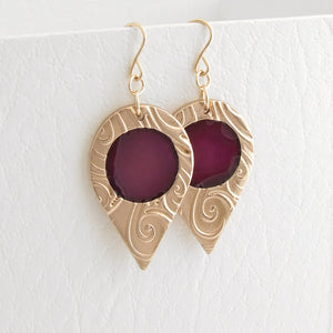 Handmade Gold Bronze and Enamel Teardrop Earrings for Women Bonschelle UK - 2