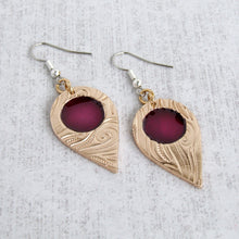 Load image into Gallery viewer, Handmade Gold Bronze and Enamel Teardrop Earrings for Women Bonschelle UK - 1
