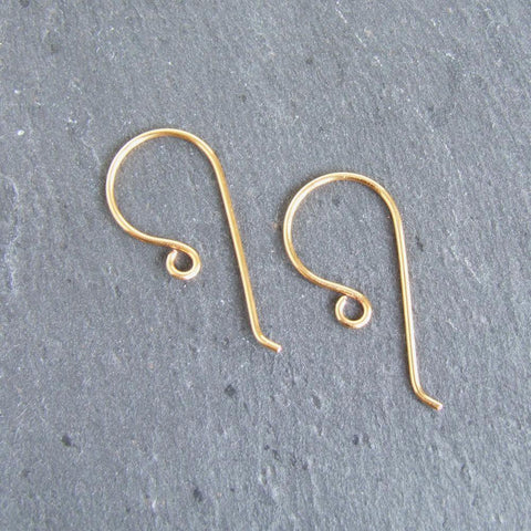 Handmade 24ct gold plated large shepherd crook earwires 1