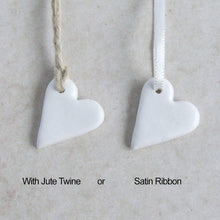 Load image into Gallery viewer, Handmade white clay mini heart gift tags or favors with jute or satin ribbon