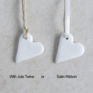 Handmade white clay mini heart gift tags or favors with jute or satin ribbon