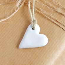 Load image into Gallery viewer, Handmade white clay mini heart gift tags or favors by Bonschelle