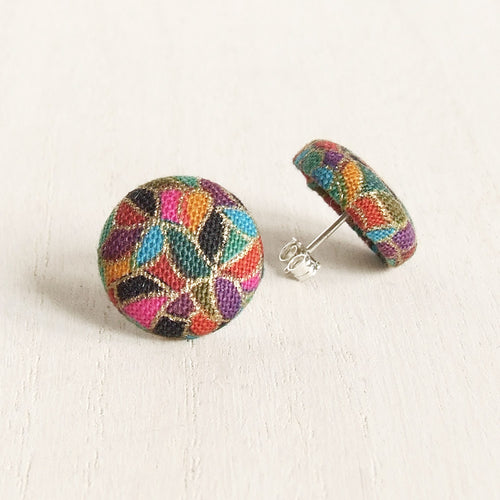 Sterling silver stud earrings with a multi-coloured modern abstract fabric covering reminiscent of stained glass windows.
