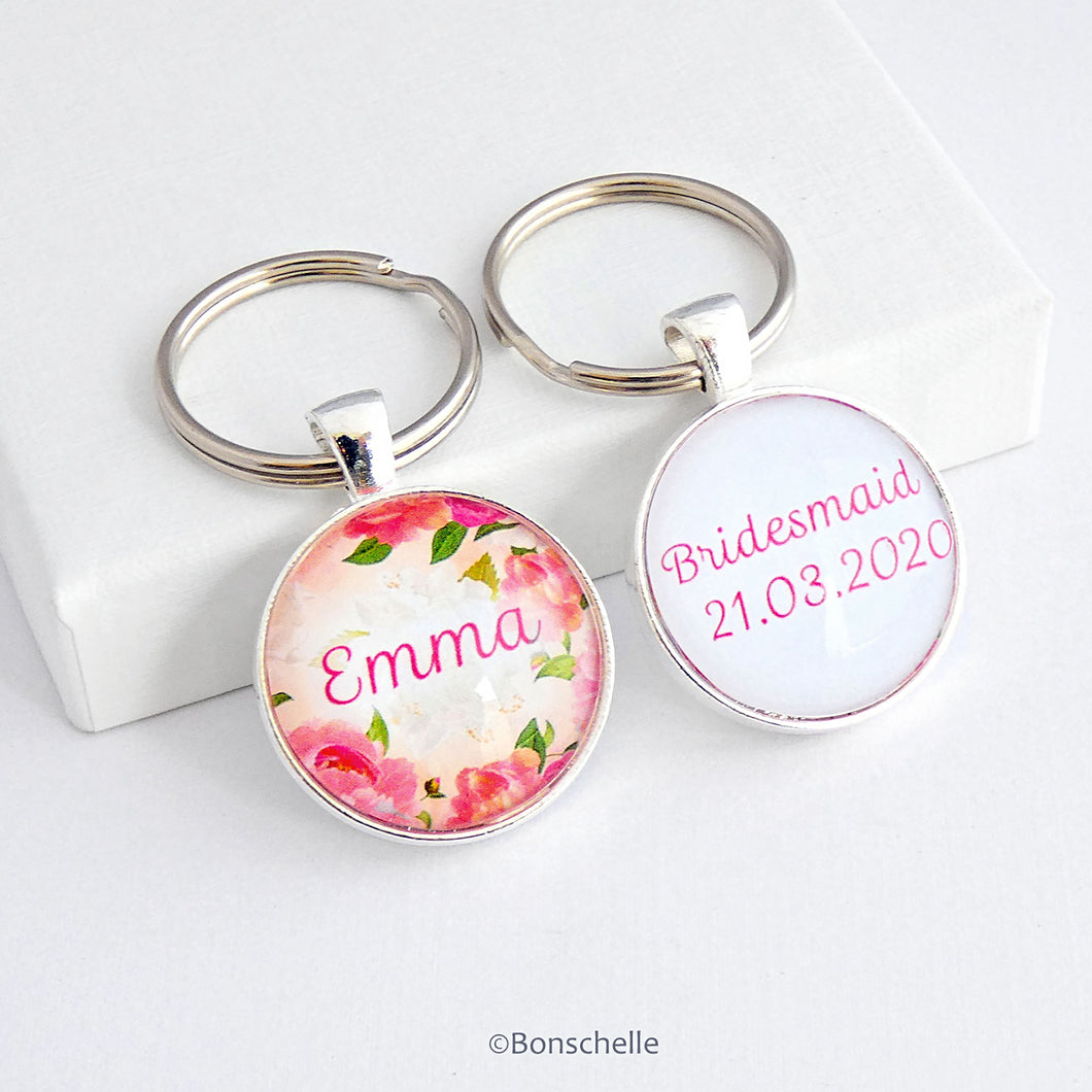 Personalised Double Sided Floral Name Keyring
