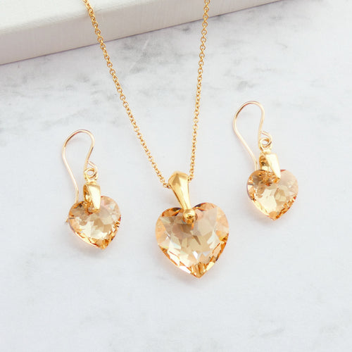 Pale bronze cut crystal heart earrings and necklace set for woment