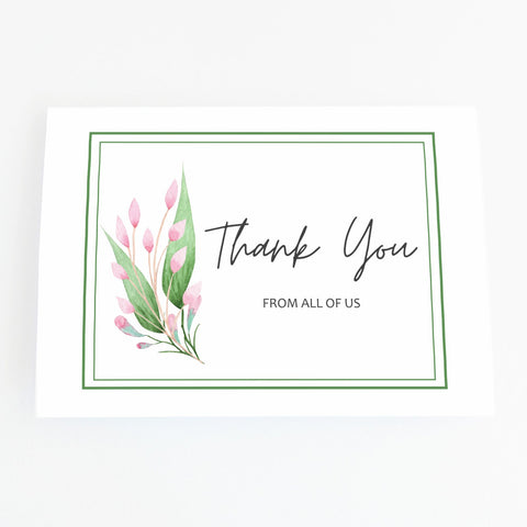 Personalised floral blank inside thank you greeting card