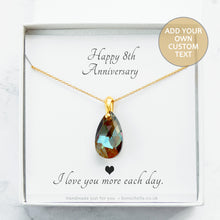 Load image into Gallery viewer, Handmade necklace with a bronze toned teardrop shape faceted crystal bead and 14K gold filled chain for womenin a gift box with a personalised message card inside.