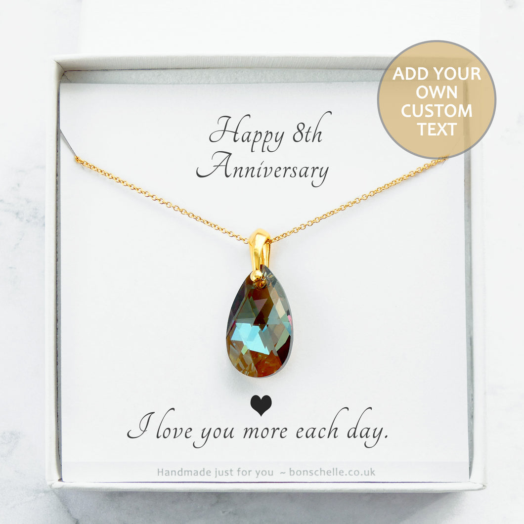 Handmade necklace with a bronze toned teardrop shape faceted crystal bead and 14K gold filled chain for womenin a gift box with a personalised message card inside.