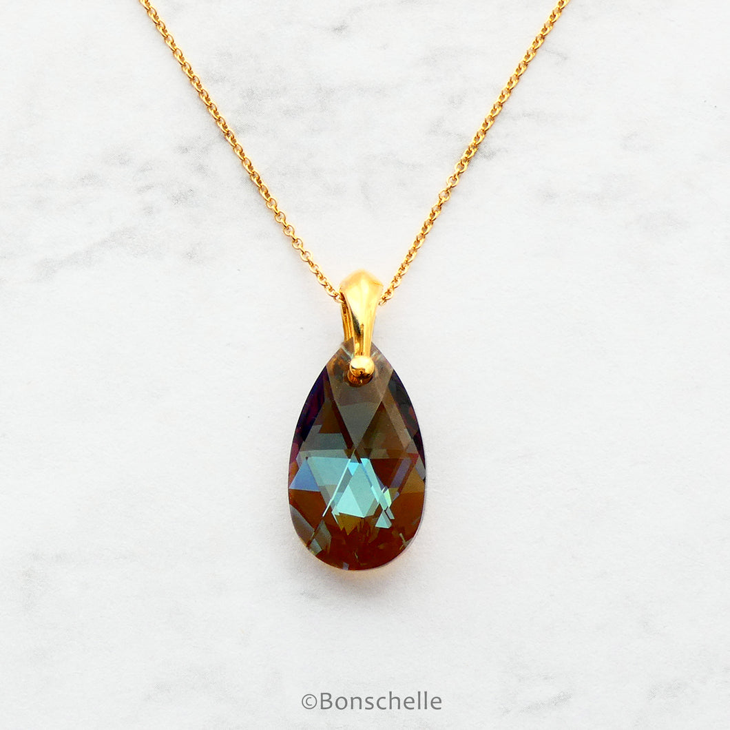 Handmade necklace with a teardrop shape bronze toned Swarovski cut glass crystal bead and 14K gold filled chain